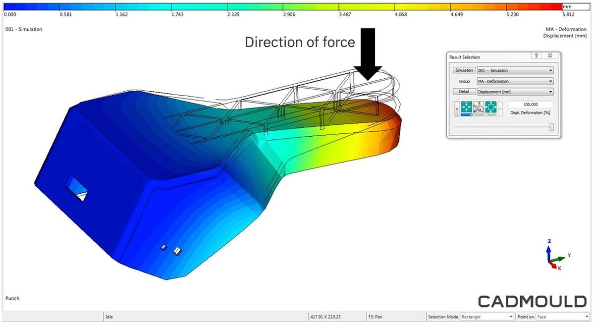 CADMOULD Structural FEM computes part deformation